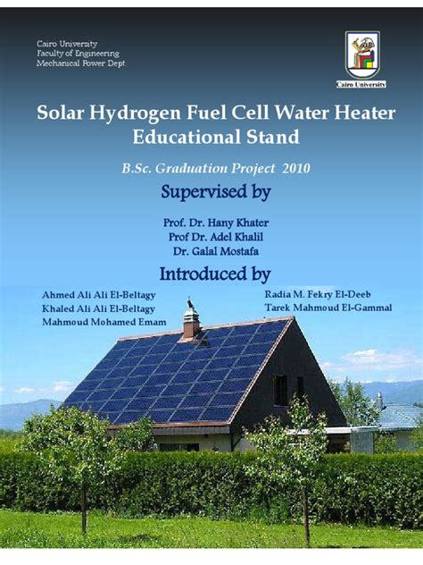 Solar Hydrogen Fuel Cell Water Heater (Educational Stand