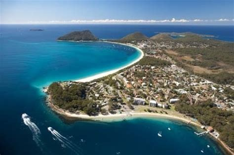 Nelson Bay and Shoal Bay from the air, a short drive from