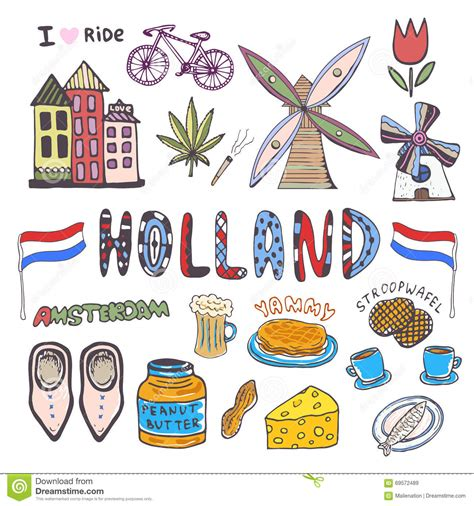 Doodle Hand Sketch Collection Of Holland Icons
