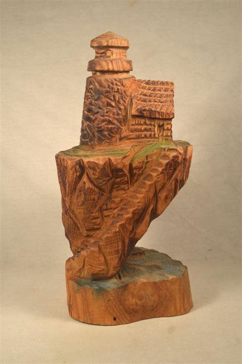 Log Carved Art Lighthouse Hand Crafted Wood Wooden | Home